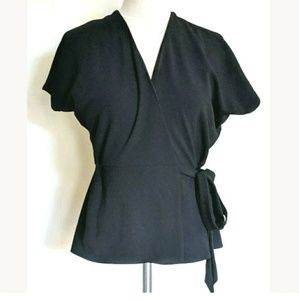 Topshop Wrap Top Blouse Solid Black Tie Waist